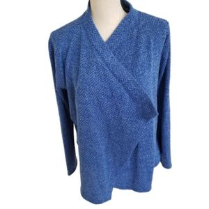 Karl Lagerfeld Blue Knit Open Cardigan Sweater